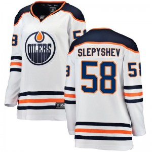 Anton Slepyshev Edmonton Oilers Women's Fanatics Branded Authentic White Away Breakaway Jersey
