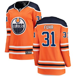 Grant Fuhr Edmonton Oilers Women's Fanatics Branded Authentic Orange r Home Breakaway Jersey