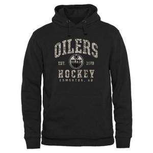 Edmonton Oilers Men's Black Camo Stack Pullover Hoodie