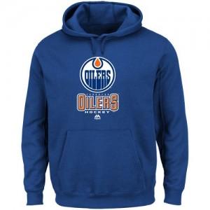 Edmonton Oilers Men's Majestic Blue Critical Victory VIII Fleece Hoodie