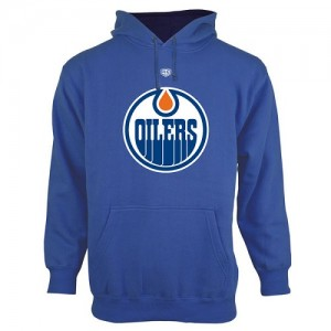 Edmonton Oilers Men's Royal Blue Old Time Hockey Big Logo with Crest Pullover Hoodie