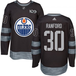 Bill Ranford Edmonton Oilers Men's Adidas Authentic Black 1917-2017 100th Anniversary Jersey