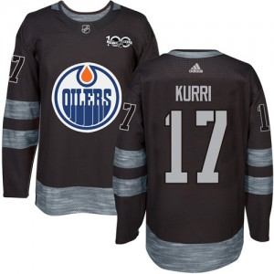 Jari Kurri Edmonton Oilers Men's Adidas Authentic Black 1917-2017 100th Anniversary Jersey