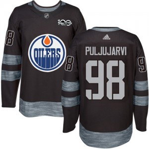 Jesse Puljujarvi Edmonton Oilers Men's Adidas Authentic Black 1917-2017 100th Anniversary Jersey
