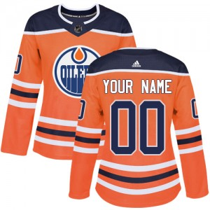 Women's Adidas Edmonton Oilers Customized Authentic Orange Home Jersey