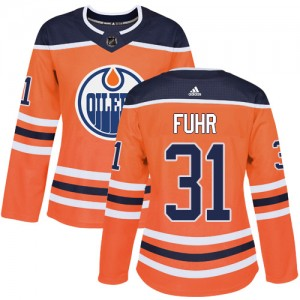 Grant Fuhr Edmonton Oilers Women's Adidas Authentic Orange Home Jersey