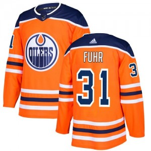 Grant Fuhr Edmonton Oilers Youth Adidas Authentic Orange Home Jersey