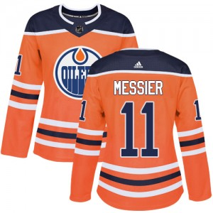 Mark Messier Edmonton Oilers Women's Adidas Authentic Orange Home Jersey