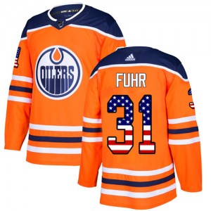 Grant Fuhr Edmonton Oilers Men's Adidas Authentic Orange USA Flag Fashion Jersey