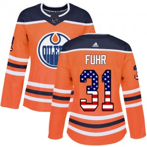 Grant Fuhr Edmonton Oilers Women's Adidas Authentic Orange USA Flag Fashion Jersey