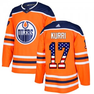 Jari Kurri Edmonton Oilers Youth Adidas Authentic Orange USA Flag Fashion Jersey