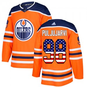 Jesse Puljujarvi Edmonton Oilers Men's Adidas Authentic Orange USA Flag Fashion Jersey