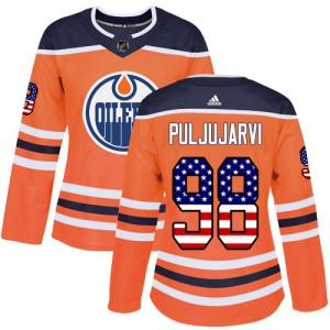Jesse Puljujarvi Edmonton Oilers Women's Adidas Authentic Orange USA Flag Fashion Jersey