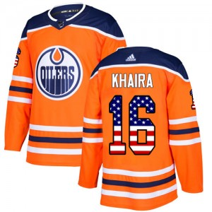 Jujhar Khaira Edmonton Oilers Youth Adidas Authentic Orange USA Flag Fashion Jersey