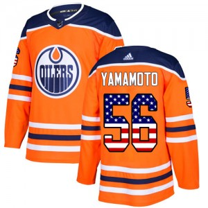 Kailer Yamamoto Edmonton Oilers Men's Adidas Authentic Orange USA Flag Fashion Jersey