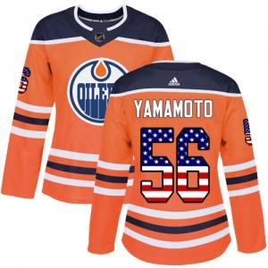 Kailer Yamamoto Edmonton Oilers Women's Adidas Authentic Orange USA Flag Fashion Jersey