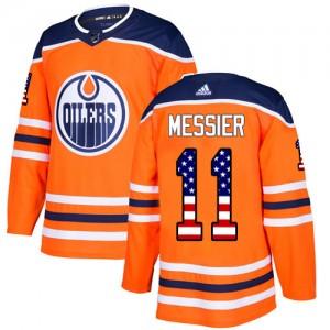Mark Messier Edmonton Oilers Men's Adidas Authentic Orange USA Flag Fashion Jersey
