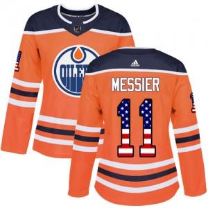 Mark Messier Edmonton Oilers Women's Adidas Authentic Orange USA Flag Fashion Jersey