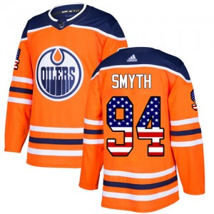 Ryan Smyth Edmonton Oilers Men's Adidas Authentic Orange USA Flag Fashion Jersey