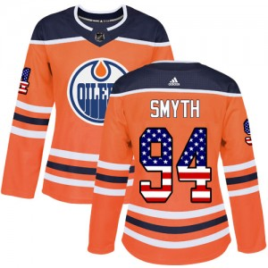 Ryan Smyth Edmonton Oilers Women's Adidas Authentic Orange USA Flag Fashion Jersey