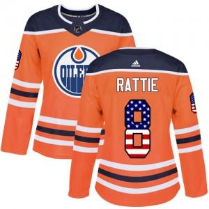 Ty Rattie Edmonton Oilers Women's Adidas Authentic Orange USA Flag Fashion Jersey