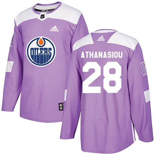 Andreas Athanasiou Edmonton Oilers Youth Adidas Authentic Purple ized Fights Cancer Practice Jersey