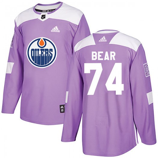 Ethan Bear Edmonton Oilers Youth Adidas Authentic Purple Fights Cancer Practice Jersey
