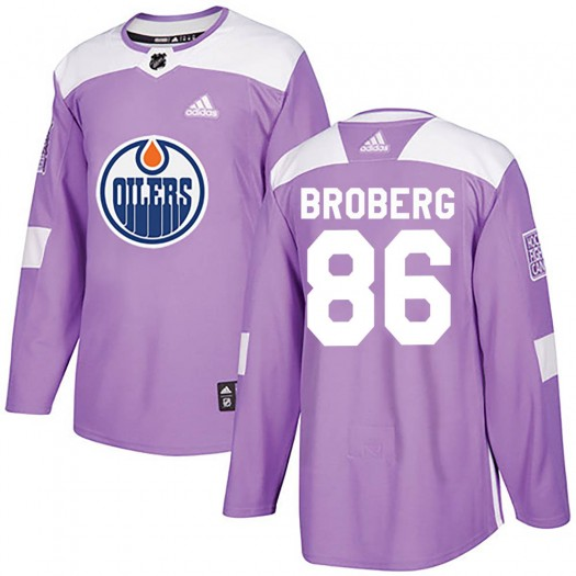 Philip Broberg Edmonton Oilers Youth Adidas Authentic Purple ized Fights Cancer Practice Jersey