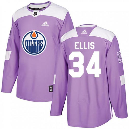 Nick Ellis Edmonton Oilers Youth Adidas Authentic Purple Fights Cancer Practice Jersey