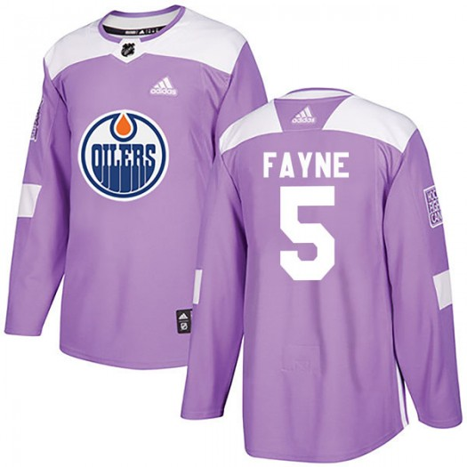 Mark Fayne Edmonton Oilers Youth Adidas Authentic Purple Fights Cancer Practice Jersey