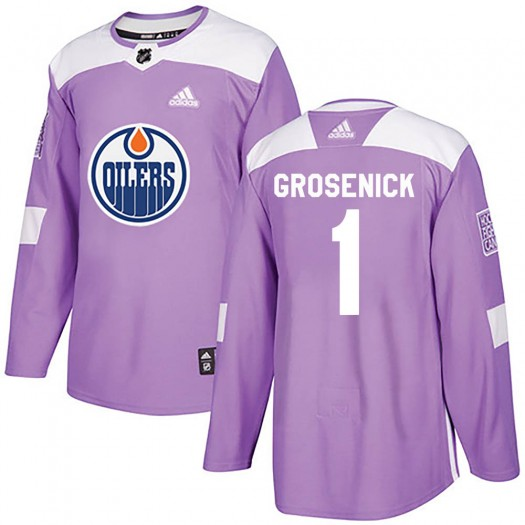 Troy Grosenick Edmonton Oilers Youth Adidas Authentic Purple Fights Cancer Practice Jersey