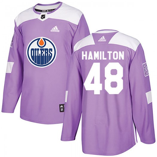 Ryan Hamilton Edmonton Oilers Youth Adidas Authentic Purple Fights Cancer Practice Jersey