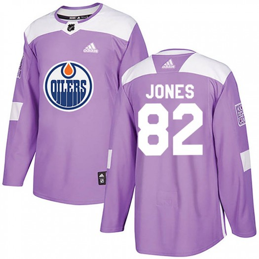 Caleb Jones Edmonton Oilers Youth Adidas Authentic Purple Fights Cancer Practice Jersey