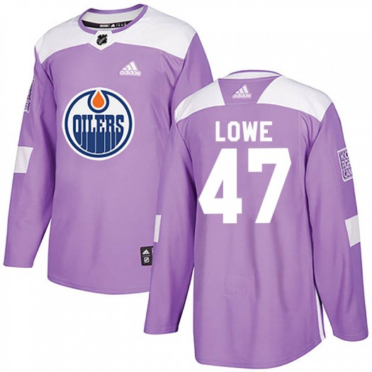 Keegan Lowe Edmonton Oilers Youth Adidas Authentic Purple Fights Cancer Practice Jersey