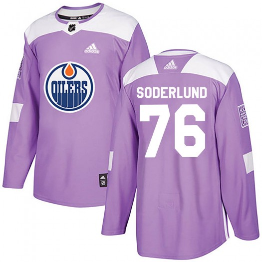 Tim Soderlund Edmonton Oilers Youth Adidas Authentic Purple Fights Cancer Practice Jersey