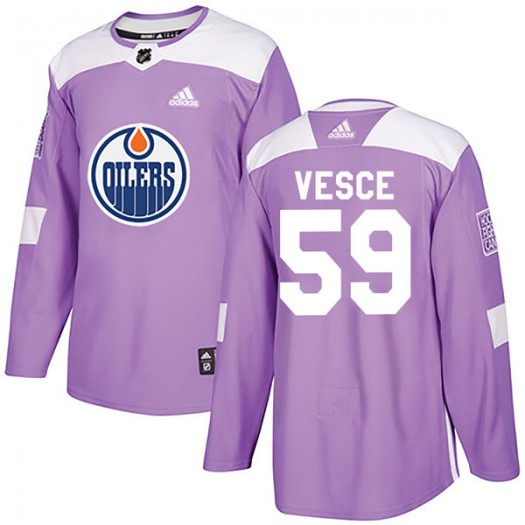 Ryan Vesce Edmonton Oilers Youth Adidas Authentic Purple Fights Cancer Practice Jersey