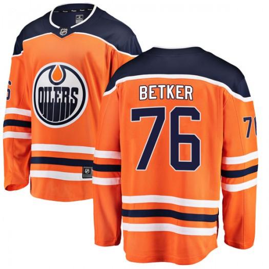 Ben Betker Edmonton Oilers Youth Fanatics Branded Authentic Orange r Home Breakaway Jersey