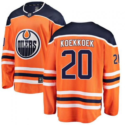 Slater Koekkoek Edmonton Oilers Youth Fanatics Branded Orange Breakaway Home Jersey