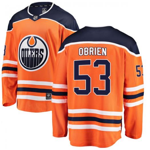 Zach Obrien Edmonton Oilers Youth Fanatics Branded Authentic Orange r Home Breakaway Jersey