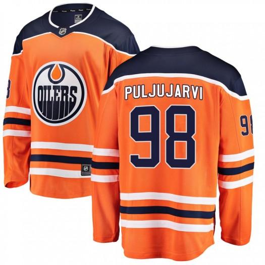 Jesse Puljujarvi Edmonton Oilers Youth Fanatics Branded Orange Breakaway Home Jersey