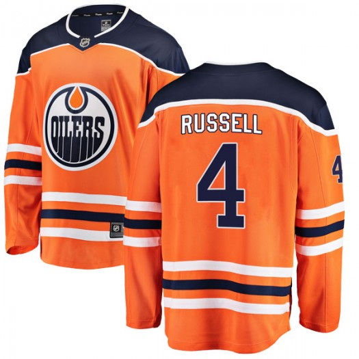Kris Russell Edmonton Oilers Youth Fanatics Branded Authentic Orange r Home Breakaway Jersey