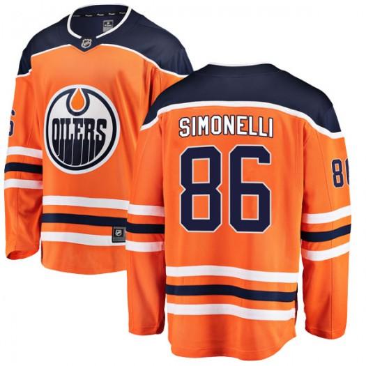 Frankie Simonelli Edmonton Oilers Youth Fanatics Branded Authentic Orange r Home Breakaway Jersey