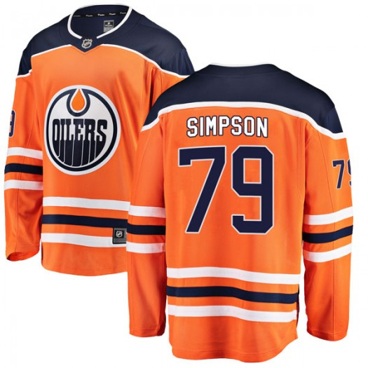 Dillon Simpson Edmonton Oilers Youth Fanatics Branded Authentic Orange r Home Breakaway Jersey