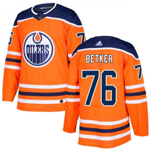 Ben Betker Edmonton Oilers Men's Adidas Authentic Orange r Home Jersey