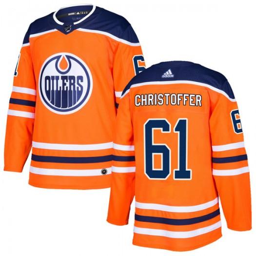 Braden Christoffer Edmonton Oilers Men's Adidas Authentic Orange r Home Jersey
