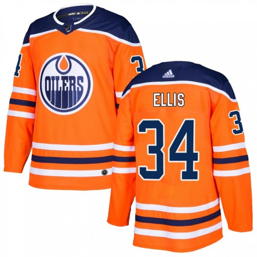 Nick Ellis Edmonton Oilers Men's Adidas Authentic Orange r Home Jersey