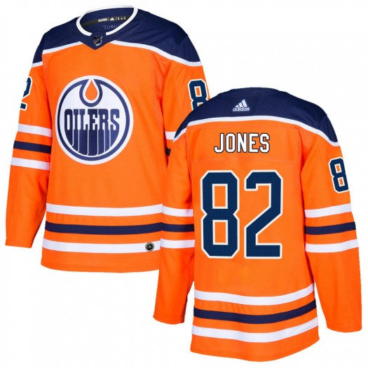 Caleb Jones Edmonton Oilers Men's Adidas Authentic Orange r Home Jersey