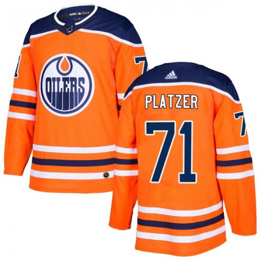 Kyle Platzer Edmonton Oilers Men's Adidas Authentic Orange r Home Jersey