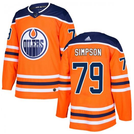 Dillon Simpson Edmonton Oilers Men's Adidas Authentic Orange r Home Jersey