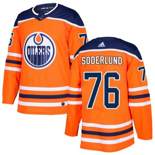 Tim Soderlund Edmonton Oilers Men's Adidas Authentic Orange r Home Jersey